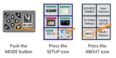 How to find MC-200 audio system version firmware graphic