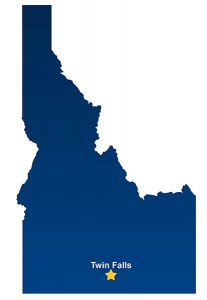 Idaho state outline with Twin Falls location star