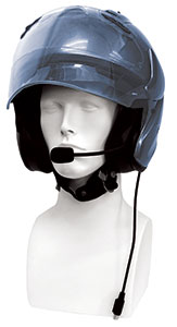 Photo of a gold flip style helmet with an installed helmet headset with microphone