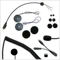 Product photo of the MotoChello helmet headset contents