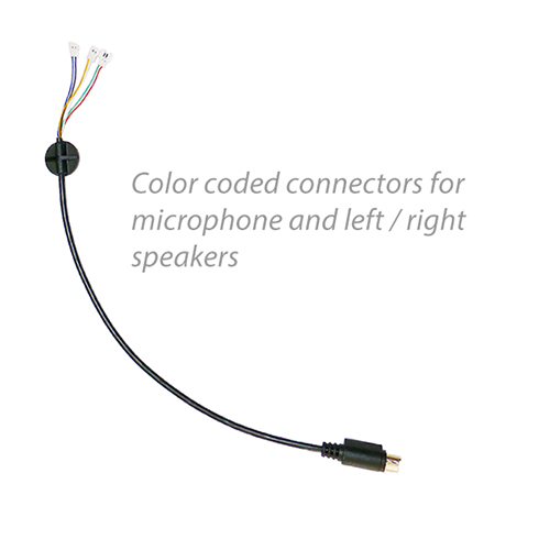 photo of the helmet headset wire harness with color coded wires