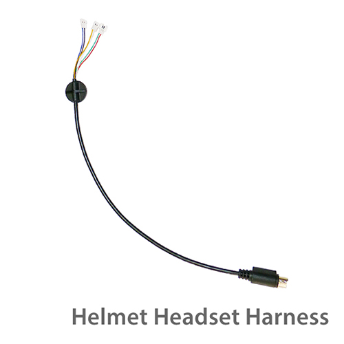 photo of the helmet headset harness with color coded wires