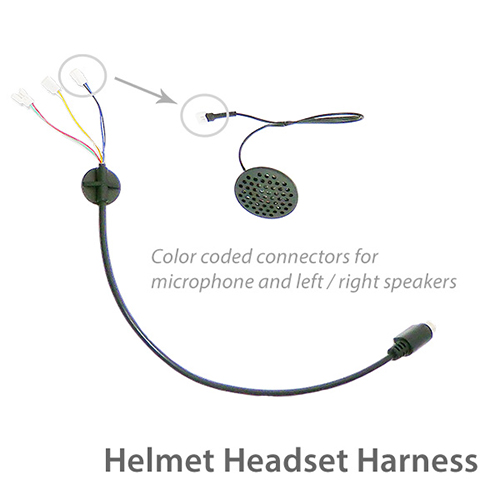 photo of the helmet headset harness showing colored wires and speaker connection