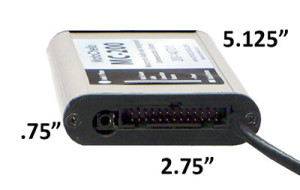 Photo of the side of a MotoChello MC-200 audio processor showing measurements