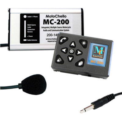 Product photo of the MotoChello MC-200 Single Rider motorcycle audio system