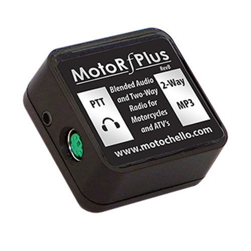 Product photo of the side of a MotoChello MotoRfPlus portable motorcycle audio system for ATVs and more