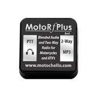 Product photo of the top of a MotoChello MotoRfPlus portable motorcycle audio system for ATVs and more