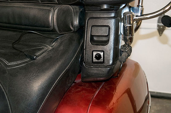 Photo of a MotoChello Gold Wing headset VAM unit installed for passenger use