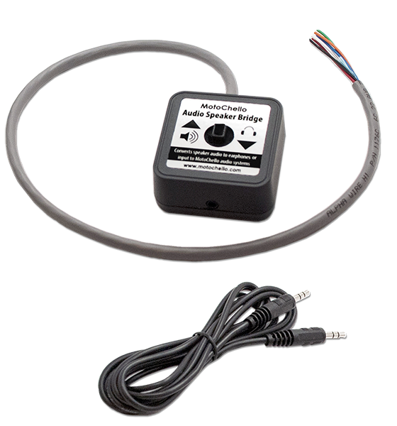 Photo of the MotoChello Audio Speaker Bridge and cable